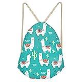 Showudesigns Alpaca Print Drawstring Backpack Kids Boys Girls Cactus String Cinch Gym Bag for Beach Travel (Color: alpaca cactus, Tamaño: One_Size)