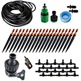 Koram 360 degree Micro Sprayer and Dripper on Stake Irrigation Gardener's Greenhouse Plant lawn Watering Drip Kit Accessories with 50ft 1/4