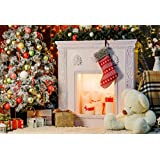 Baocicco Ice Freezing Chrismas Tree Bauble Decorations Interior Backdrop 5x4ft Cotton Polyester Photography Backgroud Fieplace Candle Light Stocking Bear Doll Fuzzy Carpet Children Holiday Party
