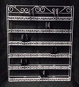 Nail Polish Wall Rack (Fit Up To 100 Bottles of Nail Polish) (Metal Frame, Unbreakable) (SILVER)