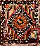 Golden Black Sun Star Tapestry Exotic Celestial Wall Art for Home Décor Labhanshi