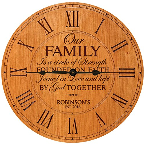 Personalized Wedding Gifts for him her parents Modern Decorative Custom Wall Desk Clocks Housewarming ideas Our Family is a circle of Strength 12