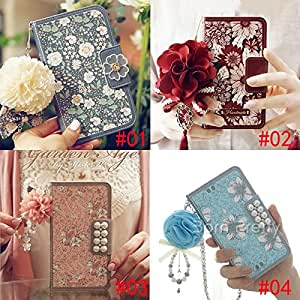 Generic 1 Pc Retro Vintage Floral Fuax Leather Clamshell Phone Case with Pendant for iPhone 5/6/6 Plus # 28213(02#(IPHONE6)