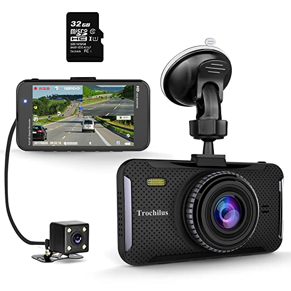 Trochilus Dual Dash Cam 4 1080P Front and Rear Dash Cams, 170 Degree Wide Angle Car Camera with G-Sensor, WDR, Loop Recording, Parking Monitor, Motion Detection, 32GB SD Card including (Color: Dual)