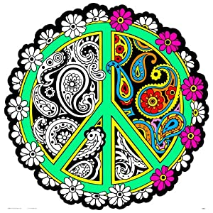 peace mandala coloring pages - peace sign fuzzy velvet mandala 20x20 inches