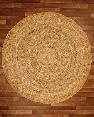 NaturalAreaRugs Elsinore Jute Round Rug, 100% Natural Jute, Hand Braided by Artisan Rug Maker
