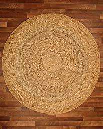 NaturalAreaRugs Elsinore Jute Round Rug, 100% Natural Jute, Hand Braided by Artisan Rug Maker, 6\' x 6\'