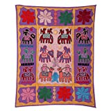 Rajrang Home Décor Embroidered Patch Work Coral Pink Wall Hanging - B00TQRNO60