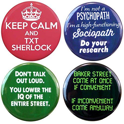 """Henry The Buttonsmith Sherlock 2.25"""" Button Set"""