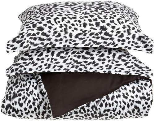 Regal Collection 300 Thread-Count Cheetah Print King 3-Piece Duvet Set, Black/White