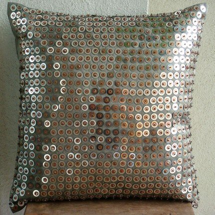 Exotic Lounge - 26X26 Inches Square Decorative Throw Silver Silk Euro Sham Covers With Metallic Sequins front-1005416