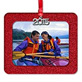 2015 Magnetic Glitter Christmas Photo Frame Ornaments, Horizontal - Red