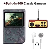 AKTOUGST Handheld Game Console, Retro Game Console 400 Classic Game FC System Video Portable Mini Extra Joystick Controller Support TV 2 Player,Gift for Children Adult, (Transparent Black) (Color: Transparent Black)