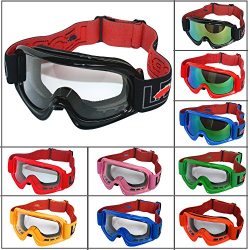 Junior Children Child Kids MX Goggles Bike Motorcycle Off Road Motocross Helmet Goggle Black Frame Clear Lens