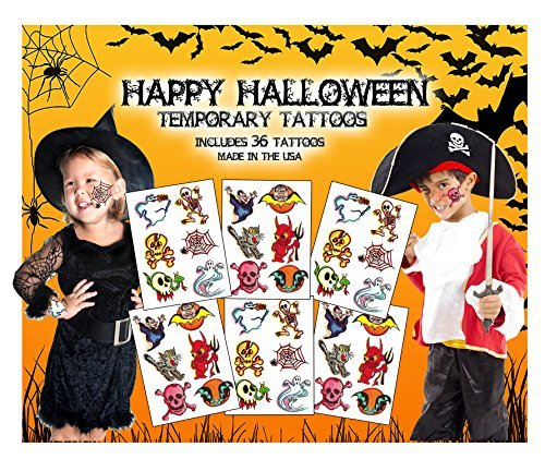 [Happy Halloween Temporary Tattoos - Made in the USA - 36 Tattoos plus 8 cool mustache temporary] (Moustache Halloween)