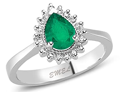 0.82 Carats 18k Solid White Gold Emerald and Diamond Engagement Wedding Bridal Promise Ring Bands