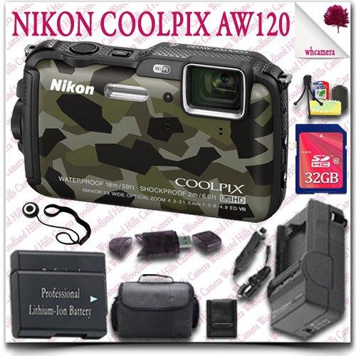Nikon Coolpix Aw120 Wifi Waterproof Gps Digital Camera (Camo) + 32Gb Sdhc Class 10 Card + Slr Gadget Bag 12Pc Nikon Saver Bundle