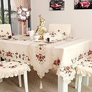 Ustide European Style Tablecloth Rustic Floral Pattern Tablecloth For