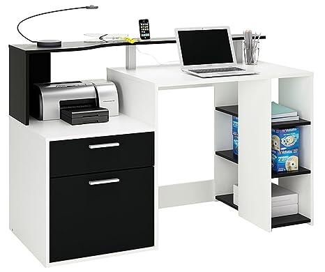 Bureau informatique 1 tiroir, 1 porte et 1 étagère en blanc perle/ noir, L 140 x P 55,10 x H 91 cm -PEGANE-