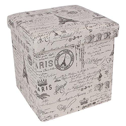 SONGMICS Paris Eiffel Tower Storage Ottoman Cube Footrest Cotton Fabric Country Home Decor ULSF30X (Paris Storage Box compare prices)