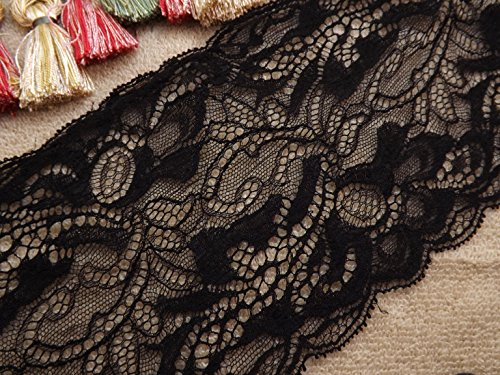 "Buy Discount 15 Yards Soft Embroidered Black Floral Stretch Picot Edge Lace 6 1/2"" Wide"