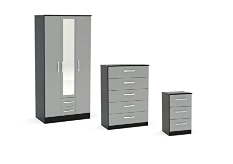 Birlea Lynx High Gloss 3 Piece Set - 3 Door Combi Wardrobe, Chest Drawers and Bedside - Various Colours Available (5 Drawer Chest, Grey / Black)