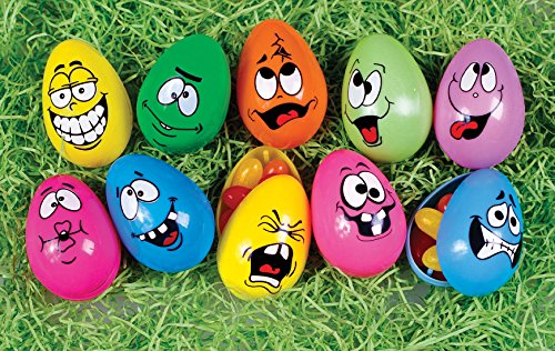Easter Decorations Fillable Eggs - Set of 10 Crazy Funny Faces