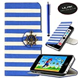 iPhone 5C case, iPhone 5C case cover, ULAK PU Leather Magnet Design Flip Stand Case For Apple iPhone 5C w/ Screen Protector and Stylus (Rudder Button-Blue)