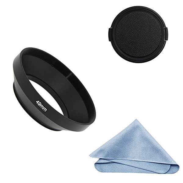 SIOTI Camera Wide Angle Metal Lens Hood with Cleaning Cloth and Lens Cap Compatible with Leica/Fuji/Nikon/Canon/Samsung Standard Thread Lens(49mm) (Color: Wide Angle, Tamaño: 49mm)