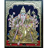 Amnaya Handcraft Tanjore Traditional Painting Of Lord Lakshmi Ganapathi Of Size With Zig Chettinadu (Teak Wood) Frame 55 Cm X 44 Cm Temple Style (Multicolor)