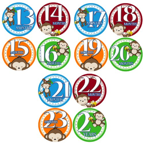 13-24 MONTHS BOY JUNGLE MONKEY Baby Month Onesie Stickers Baby Shower Gift Photo Shower Stickers, baby shower gift by OnesieStickers