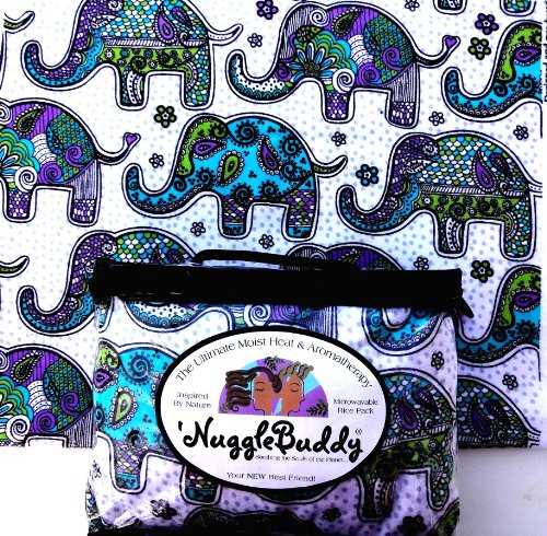 "'Nugglebuddy Microwaveable Moist Heat & Aromatherapy Organic Rice Pack. ""Elephant Mandala"" Cozy Flannel! Spearmint Eucalyptus Aromatherapy. We Ship Express! Say Hello To Your New Best Friend!"