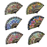 """Rbenxia Spanish Floral Folding Hand Fan Size 9"""" Pack of 10 Pieces Random Color"""