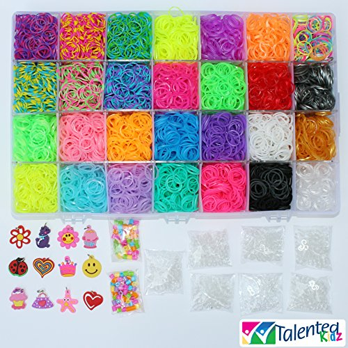 NEW JELLY & TIE DYE COLORS, JUST RELEASED! TALENTED KIDZ EXCLUSIVE - MEGA COMBO! 7000 RUBBER BANDS REFILL & STORAGE ORGANIZER: Comes with 7000 Rainbow Colored Rubber Bands in 28 Specialty Colors: GOLD, SILVER, METALLIC, TIE-DYES, GLOW IN THE DARK, JELLYS