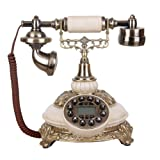 Cacoffay Home Resin Corded Antique Telephone Retro Old Fashioned Creative Vintage Decorative Telephone Fixed Phone Landline