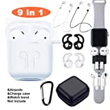 Airpods Case, Airpods Accessories Set,9 in 1 Protective Silicone Cover and Skin Compatible Apple Airpods with Anti-Lost Airpods Strap,Airpods Ear Hook/Watch Band Holder/Keychain/Carrying Box (White) (Color: White, Tamaño: airpods case)