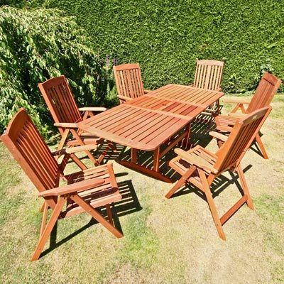BillyOh Prestige 2.0m Rectangular Extending 6 Seater Recliner Wooden Garden Furniture Set