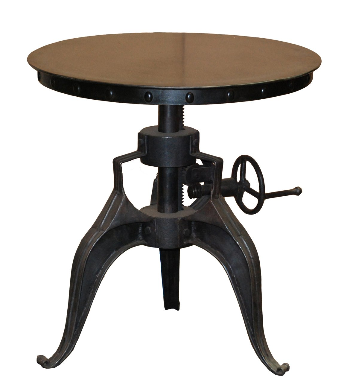 Rustic Industrial Style Round Iron Metal Accent Table With