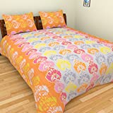 BeautifulHOMES 180 TC Cotton Double Bedsheet with Two Pillow Covers - Multi Color, CF008