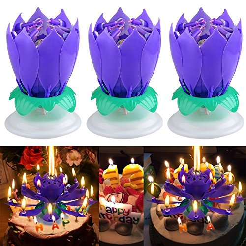 JollyGift®Musical Lotus Rotating Happy Birthday Candle Opening Flower 3 Pack (Purple 3pcs)