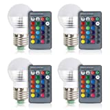 [4 Pack] Aifulo E27/E26 3W Dimmable 16 Colors Changing RGB LED Light Bulb with IR Remote Control for Home, Bar, Party, KTV Mood Ambiance Lighting (Color: Rgb)