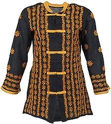 ALMAS Lucknow ChikanWomen's Cotton Regular Fit Kurti (Black and Yellow)