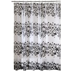 Amazon.com: Interdesign Fiore Eva X-Long Shower Curtain, Black, 72 ...