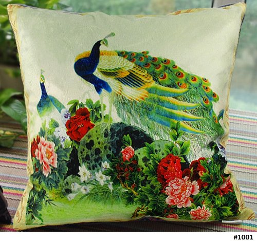 """22""""X22"""" - Elegant Decorative Throw Pillow Cover - Peacock Design On Both Sides - Velvet Fabric - Multiple Selections front-563994"""