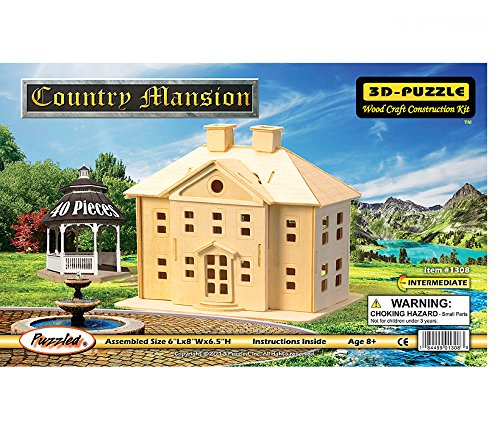 Woodcraft Construction Kit 3D Puzzle-Country Mansion