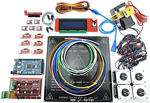 [Sintron] 3D Printer Electronics Full Kit, RAMPS 1.4 + Mega 2560 + MK3 Heatbed Heat bed + LCD2004 + Stepper Motor + MK8 Extruder + A4988 Stepper Motor Driver + Endstop for DIY RepRap Prusa i3 Kossel