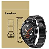 for Huawei Watch GT Band, Lamshaw Stainless Steel Metal Replacement Straps for Huawei Watch GT Smartwatch (Black) (Color: Black)