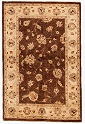 4x6 Peshawar Rug in Brown and Tan Color - Hand-knotted Ziegler Rug Made of 100% Pure New Zealand Wool (3.92 ft. W x 5.92 ft. L)