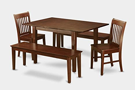 East West Furniture MLNO5C-MAH-W 5-Piece Kitchen Nook Dining Table Set