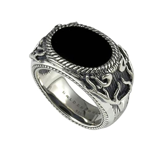 Baldessarini Ring 925 sterling silver Rhodium plated with black onyx Solid